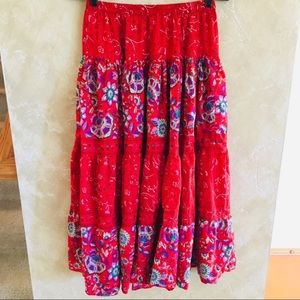 Phool Bohemian Skirt Red SM